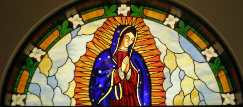 The Church Window Above Depicts Virgin Mary In Entrance Of Old Established Catholic Here Houston Texas