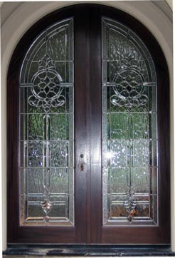 Custom beveled and leaded glass double doors in Carlton Woods in the WoodlandsTexas & ArtGlassByWells | Serving Houston since 1962 - DOORS Pezcame.Com