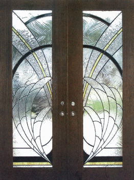 Mahogany wood doors used in this custom stained glass double doors in Austin County. Contemporary designed stained ... & ArtGlassByWells | Serving Houston since 1962 - DOORS