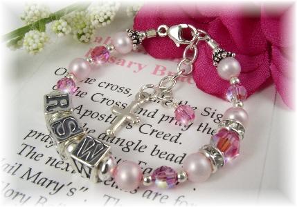 Baby Girl Personalized Baptism Rosary Bracelet