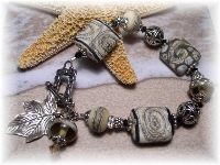 Lampwork bracelet Swarovski crystal bali sterling silver Karen Hill Tribe Silver