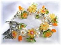 Lampwork fringe bracelet Swarovski crystal vintage lucite