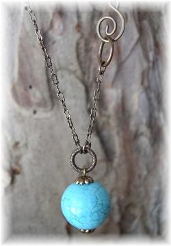 Vintaj brass necklace turquoise pendant