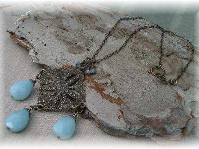 Vintaj brass necklace amazonite gemstones