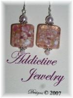 lampwork earrings swarovski crystal sterling silver