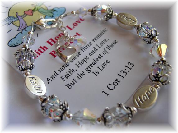 Faith Hope Love  Bracelet Swarovski Crystal