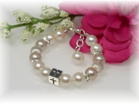 First Communion Bracelet Pink White Freshwater Pearl
