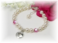 First Communion Bracelet White Freshwater Pearl and Swarovski Crystal Birthstone