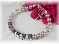 First Communion Name Bracelet Pink Lavendar Freshwater Pearl