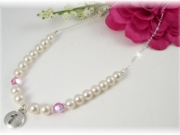 First Communion Necklace White Freshwater Pearl and Swarovski Crystal Birthstone