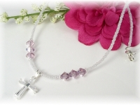 First Communion Swarovski Crystal Birthstone Necklace