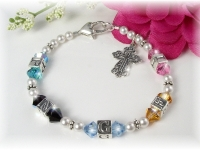 Mother Grandmother Birthstone Initials Bracelet Swarovski Crystal