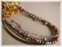 Freshwater pearl Swarovski crystal Bali sterling silver necklace
