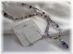 Fluorite Cube and Prism Pendant Necklace