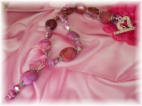 Pink crazy lace agate necklace