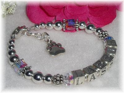 Sterling Silver and Swarovski Crystal Pet Name Bracelet