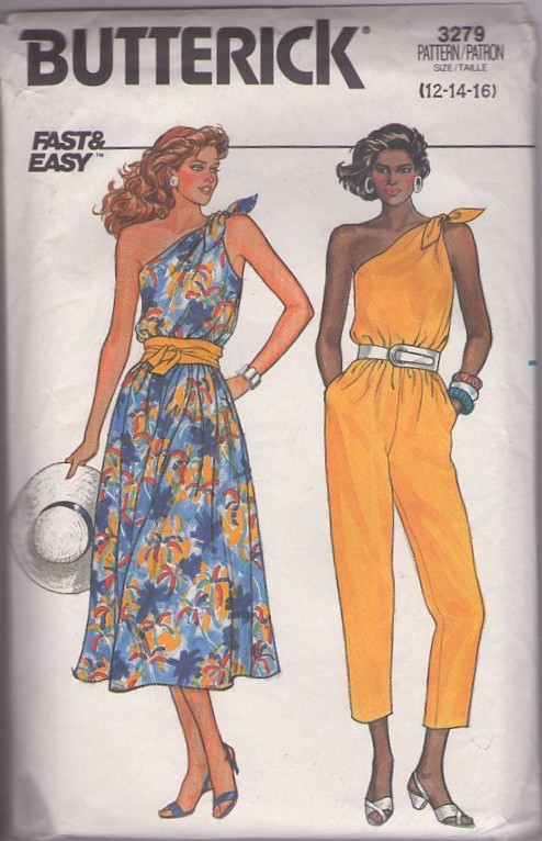 Butterick 3279 Vintage 80's Sewing Pattern YABBA DABBA DO! Flintstone Style One Slung Shoulder Tied Disco Capri Pants Jumpsuit, Summer Sun Dress 