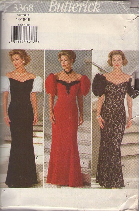 Butterick 3368 Retro 90's Sewing Pattern INCREDIBLE Glam Red Carpet Formal Gown, Gala Party Dress, Bouffant Puff Sleeves, Sweetheart Off the Shoulders Neckline, Mermaid Skirt