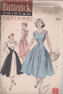 Butterick 6015 Vintage 50's Sewing Pattern The Famous Walk Away Dress, Rockabilly Wrap Around Contrast Fabrics Party Gown