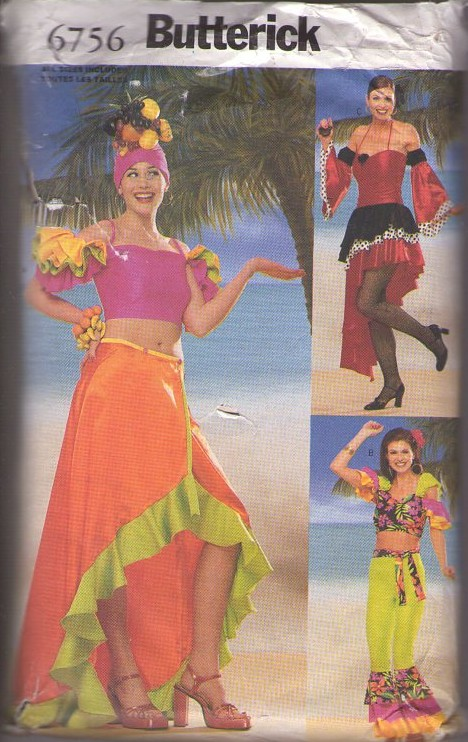 Butterick 6756 Discontinued 2000 Costume Sewing Pattern CARMEN MIRANDA Ladies Flamenco Dance, Latin Cuban Crop Top, Asymmetric Skirt Dress, Ruffled Pantaloons, Wrap Skirt, Sash, Turban Headpiece