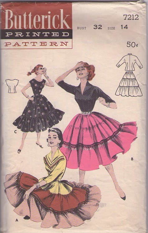 Butterick 7212 Vintage 50's Sewing Pattern BEST EVER Rockabilly Square Dance, Squaw Patio Set, Hostess Blouse & Tiered Ball Fringe Skirt