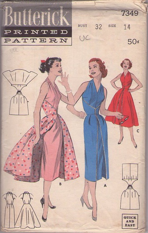 Butterick 7349 Vintage 50's Sewing Pattern AMAZING Rockabilly Halter Top Wrap Around Sheath or Overskirt Party Dress LIKE The Walk-Away Dress Butterick 6015! 