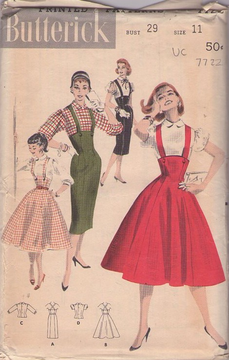 Butterick 7722 Vintage 50's Sewing Pattern VA VA VOOM Rockabilly HOT Pinup Girl HIgh Rise Built Up Waist Sheath or Full Flared Gored Skirt with Suspenders & Flutter Sleeve Blouse