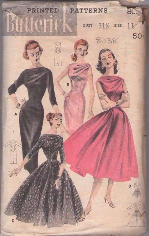 Butterick 8038 Vintage 50's Sewing Pattern INCREDIBLE Rockabilly Pinup Vixen Draped Swag Front Wiggle Party Dress, Full Skirt Evening Gown