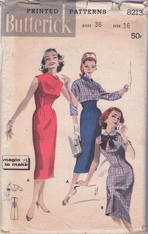 Butterick 8213 Vintage 50's Sewing Pattern SIZZLING Magic To Make Rockabilly Bombshell Pin Up Fitted Sheath Dress, Cropped Tiny Bolero Suit Jacket 