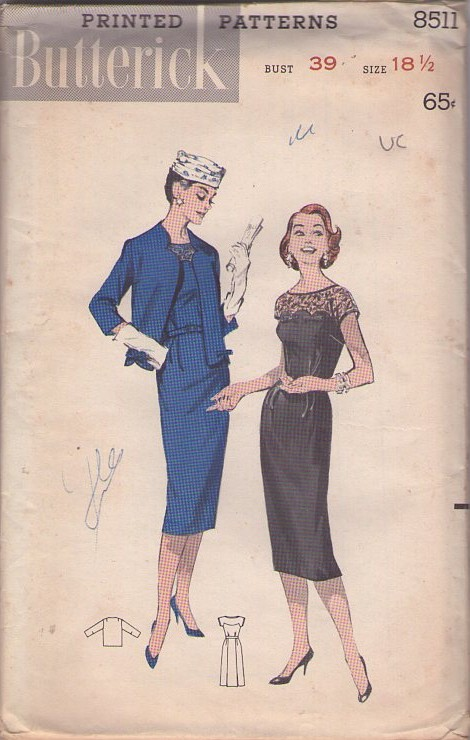 Butterick 8511 Vintage 50's Sewing Pattern INCREDIBLE Rockabilly Mad Men Sheer Lace Scalloped Bodice Sheath Party Dress, Suit Jacket 