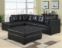 Black Leather Sectional Sofa with Chaise - Discount Online Furniture : discount sofa sectionals - Sectionals, Sofas & Couches