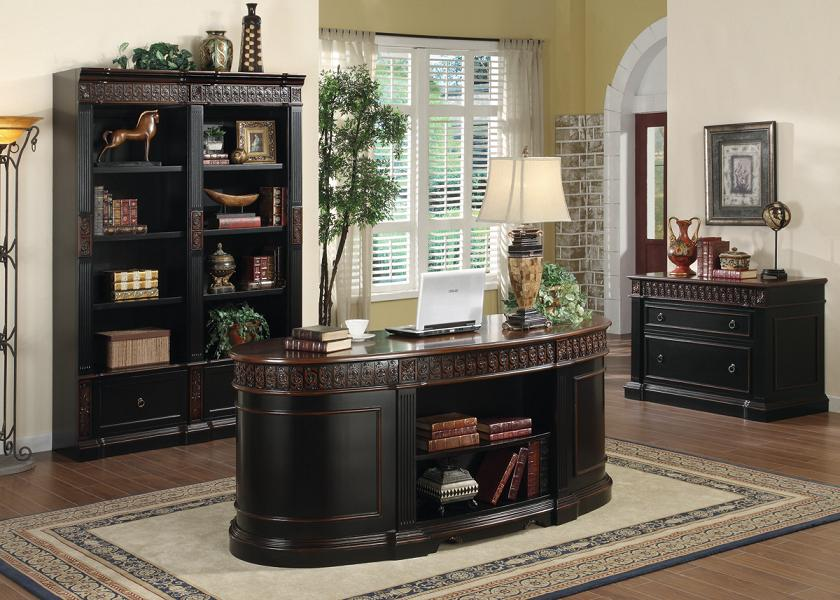 Oval Office Desk Executive Home Real Wood Furniture Solid