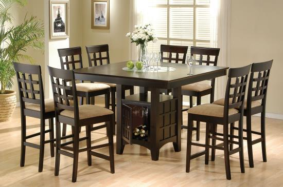 Cappuccino 9 Pc Counter Height Set W Lazy Susan And Built In Wine Rack