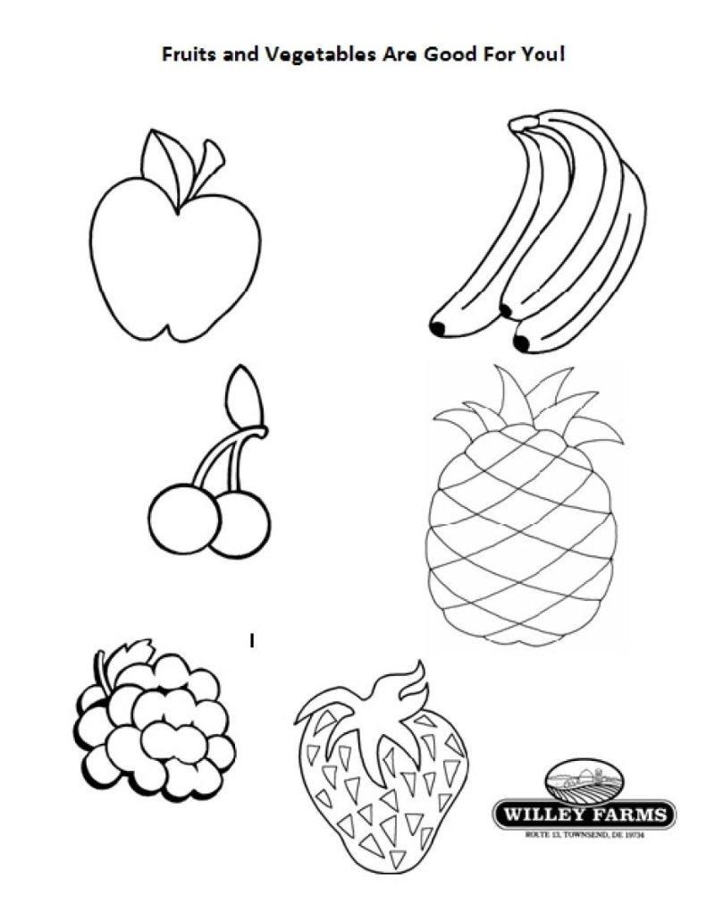 Фрукты овощи раскраски для детей